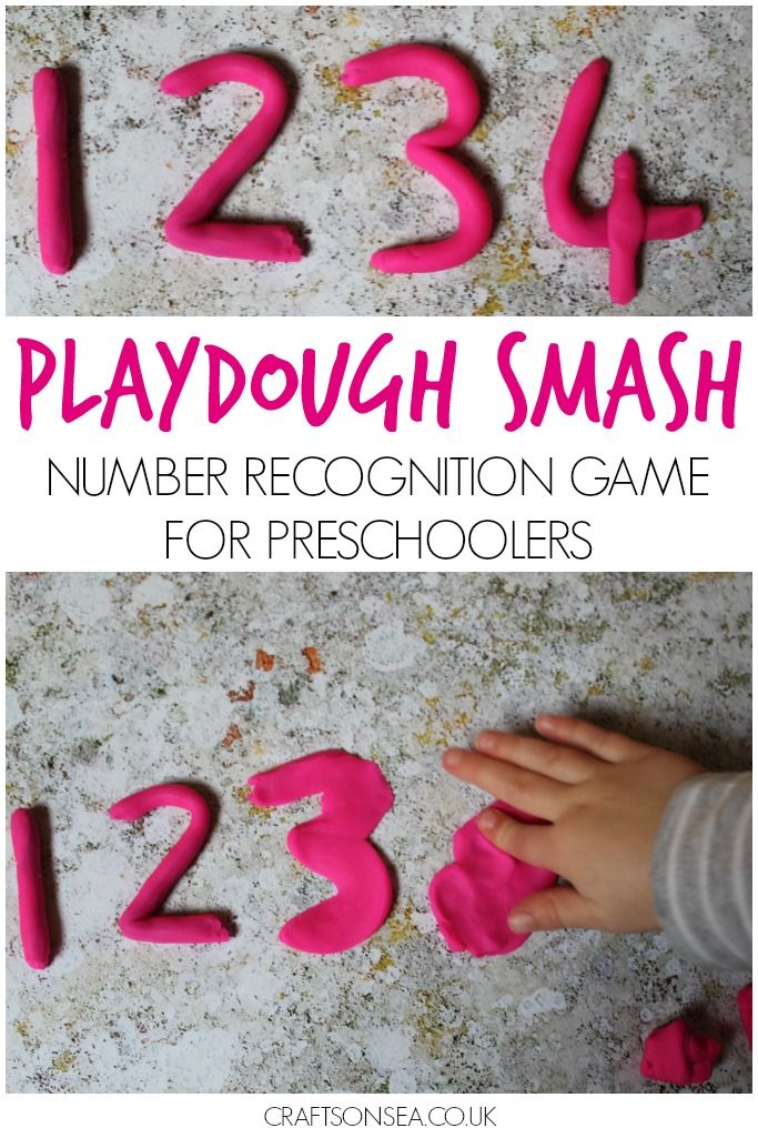 Number recognition game with playdough.