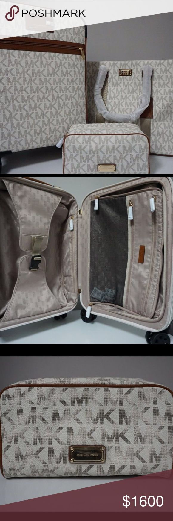 Michael kors 3 piece MICHAEL Michael Kors Signature Vanilla Travel Trolley,Tote & Pouch Luggage Set Michael Kors Bags