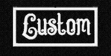 This is a custom name patch with whatever name you choose - in the font shown (I will be doing other fonts, but this is the one Im starting with, because its different than most of the others out there)  Patch is 1.4 high x 3 wide, so I will size the name font accordingly to fit inside the patch. I will gladly send you a picture before I sew it out so you can see what it should look like.  Examples shown are white thread on black patch material - other colors available on request. Iron on or…