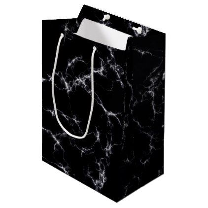 Elegant Marble style4 - Black and White Medium Gift Bag - black gifts unique cool diy customize personalize