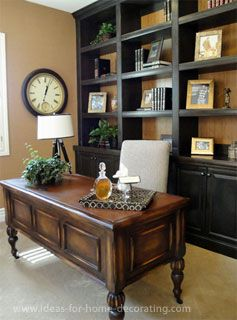 home office with wall unit