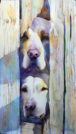 """Knock Knock"" by Artist Kim Johnson~~~~ With a full focus on the human and animal experiences, Kim uses glazes and washes, wet and dry technique, and positive and negative space breathes life into her pieces.  Kim and her husband make their home in Phoenix, Arizona."
