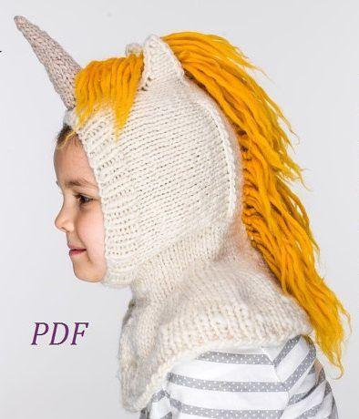 Knitting pattern for unicorn balaclava and mitts