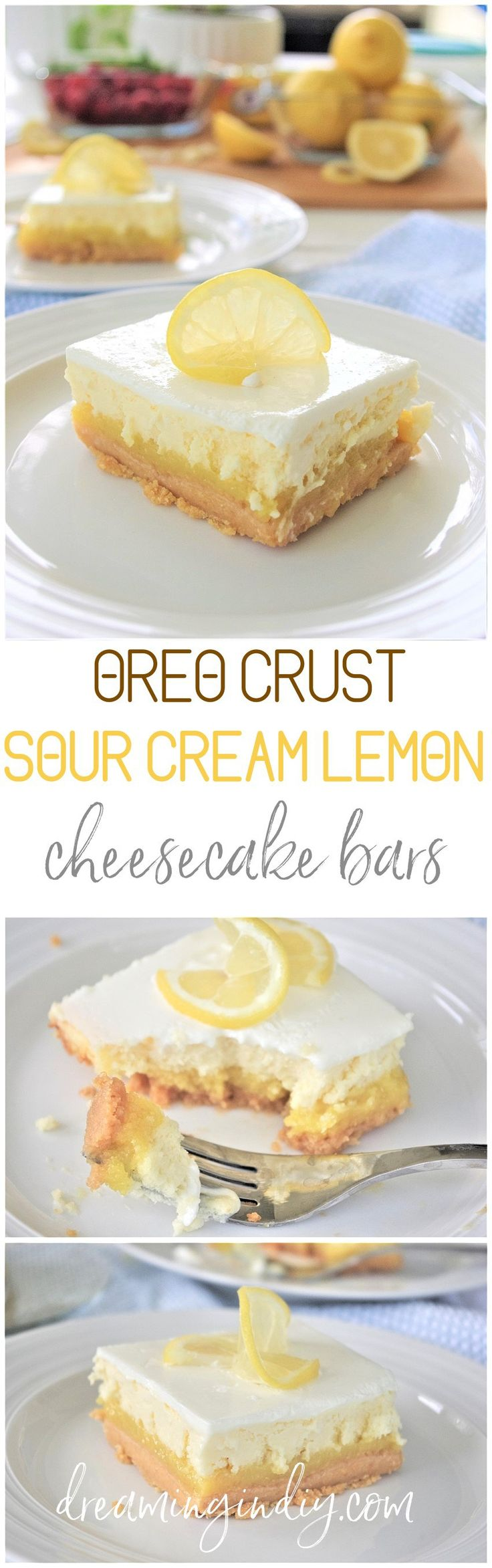 Perfect for Mother's Day Brunch menus - Lemon Sour Cream Cheesecake Dessert Bars with Lemon Oreo Crust - Easy Layered Treats Yummy Recipe via Dreaming in DIY