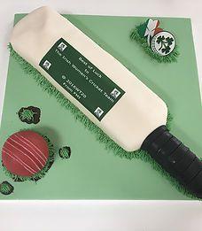 The Cake Lab Ranelagh, Dublin, Ireland, Artisan Baking Studio. Bespoke Wedding Cakes.  Irish Women's Cricket Team.  ICC World Twenty20 India 2016.Edible cricket bat.  Edible cricket ball.  Edible image text and logo.