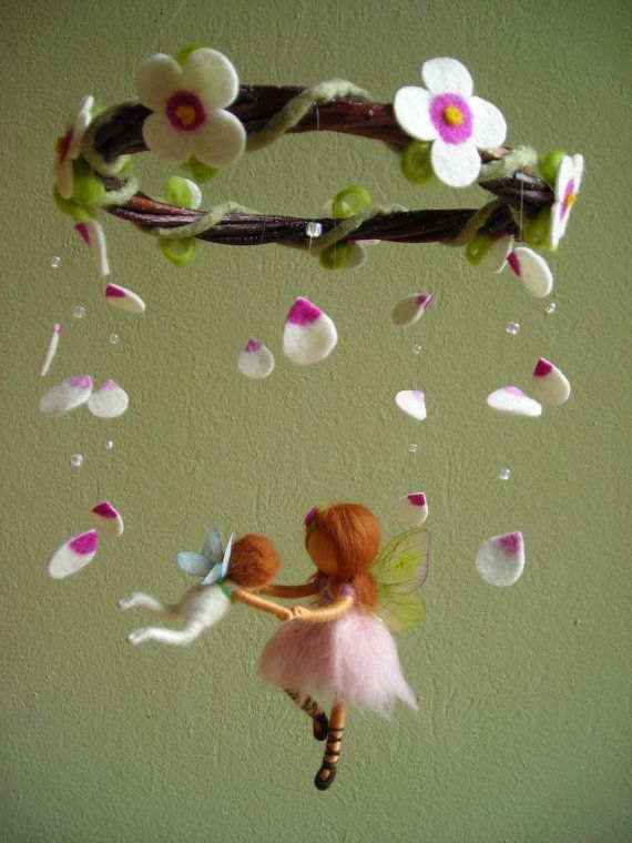 """From original pinner: """"Although this item is sold I had to pin it because it is so lovely!!! A mobile titled, 'A ballet scene with two fairies' -felted, waldorf inspired. Created by Naturechild an Etsy shop."""""""