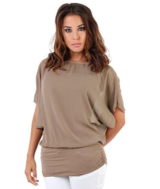 KRISP Women Oversized 2 in 1 Chiffon Blouse Batwing Jersey: Amazon.co.uk: Clothing