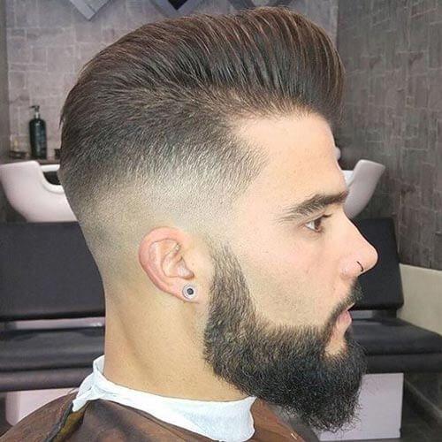 Pompadour Fade with Beard - Pompadour Fade Haircut