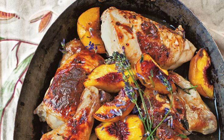 This beautiful dish of roasted chicken joints and honey-glazed peaches takes   very little effort