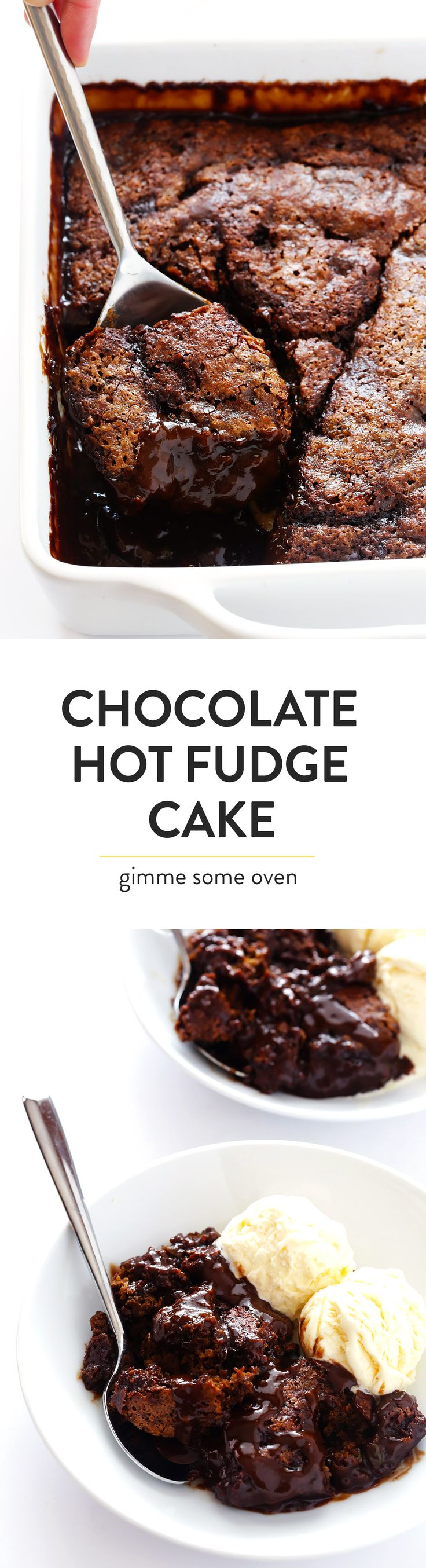 This AMAZING Chocolate Avocado Hot Fudge Cake is super easy to make, and bakes up with a rich chocolate cake on top and a gooey hot fudge sauce on the bottom.  One of my favorite desserts! | gimmesomeoven.com