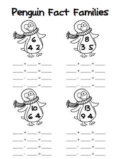 FREE Penguin Fact Families (addition/subtraction AND multiplication/division)