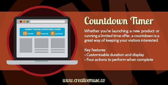 Countdown Timer Muse Widget for Adobe Muse . Whether you're about to launch a new product, run a limited time offer, or just want to tell people how many days it is until a key event, the Countdown Timer widget for Adobe Muse is a great way of keeping your visitors interested and coming back to the