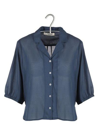 Chemise col classique courte en voile de coton Bleu by NICE THINGS