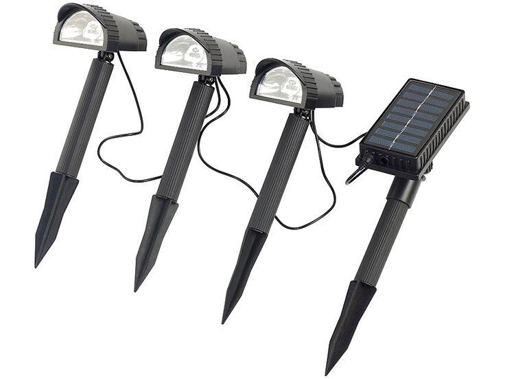 Lunartec Solar-Spots Wegeleuchten-Set mit 3 LED-Strahlern & Solarmodul