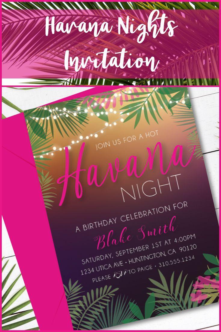Havana Nights Invitation  Havanaparty  Havanatheme