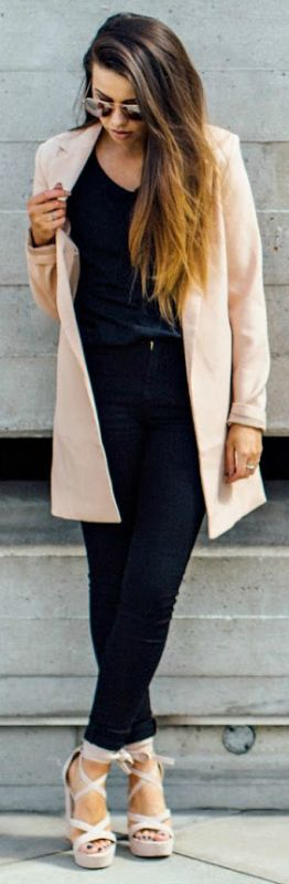 Jessica + simple black ensemble + pops of pink + pastel coat + great way + add some subtle color fall + Ballerina footwear + fall 2016 + Invest + heeled + flat pair + mix and match.  Sunglasses: Primark + Blazer: Misguided + Tee-shirt: ASOS + Jeans: ASOS + Heels: Public Desire