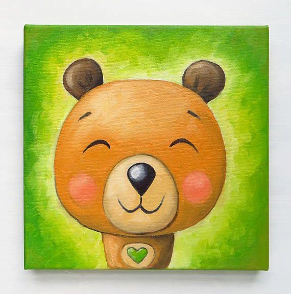 Little Bear Original Art Bears Lovers Oil on canvas Hand