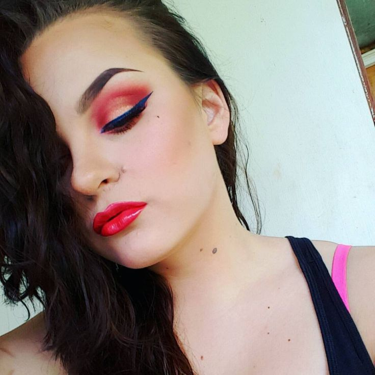 #crazyred #red #colourful #colour #lovethis #blueeyeliner #redlips #makeupartist #makeupjunkie #yesterday #lastnight #funwithmakeup #anastasiabeverlyhillsbrows #dipbrowpomade #loveit #me #crazy #passion #passionformakeup #FiftyShadesOfMakeup