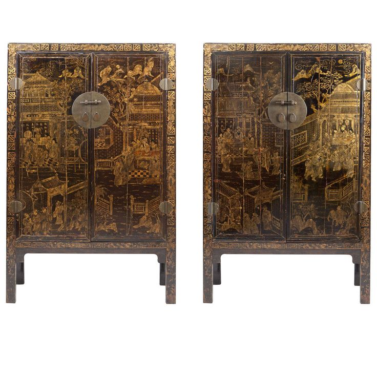 Pair of Large Scale Late 19th Century Chinese Lacquer Cabinets | From a unique collection of antique and modern cupboards at https://www.1stdibs.com/furniture/storage-case-pieces/cupboards/