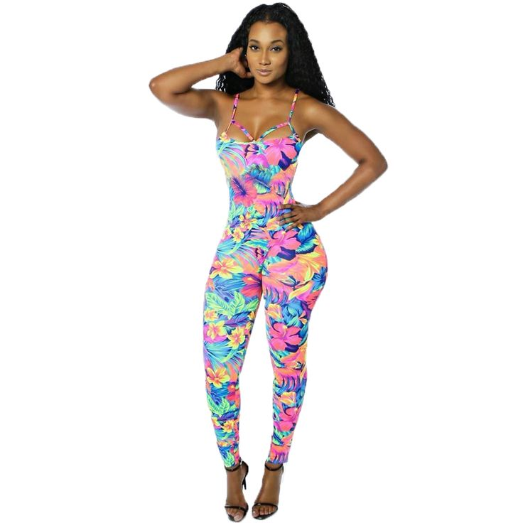 Color de Impresión Mamelucos Womens Jumpsuit 2017 Verano Correas Backless Largo Pantalones Atractivos Del Club Del Vendaje de Bodycon Mono Del Mono