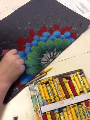 "Art at Becker Middle School: Oil Pastel ""Batiks""- glue on black paper"