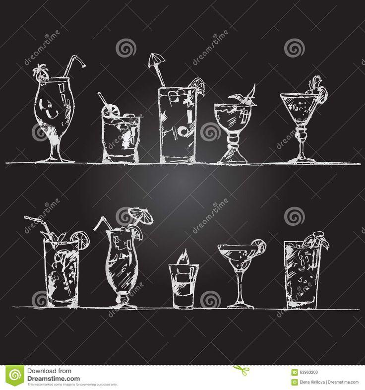 R sultat de recherche d 39 images pour dessin cocktail craie cuisine recipes et bar - Dessin cocktail ...