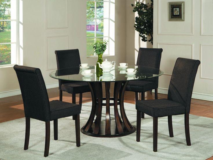Black Glass Dining Room Table Set