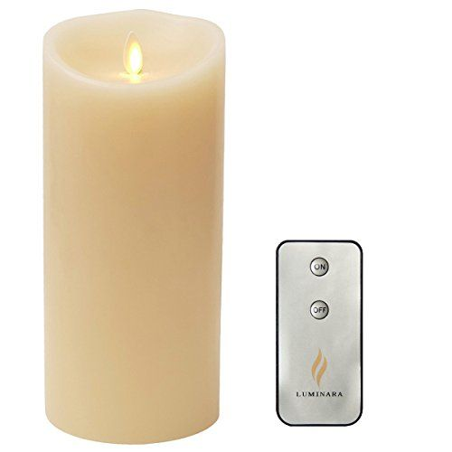 "Remote Include Luminara Flameless Candle: Vanilla Scented Moving Flame Candle with Timer (4""x9"" Ivory) ¡­"