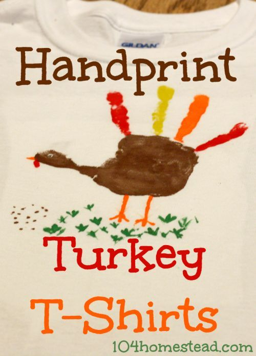T-shirt painting is super fun and super easy. Make a handprint turkey t-shirt for your little one to wear for Thanksgiving.: