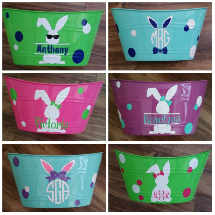 Monogram Easter Baskets, Personalized Easter Basket, Kids Baskets, Easter Bucket, Easter Bags, Easter Gift by GReisCreations on Etsy