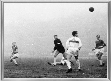 AZ Alkmaar 2 Holland Sport 1 in Jan 1968 at Alkmaarder Hout. Dick Twisk puts his chance over the bar in the Eredivisie.