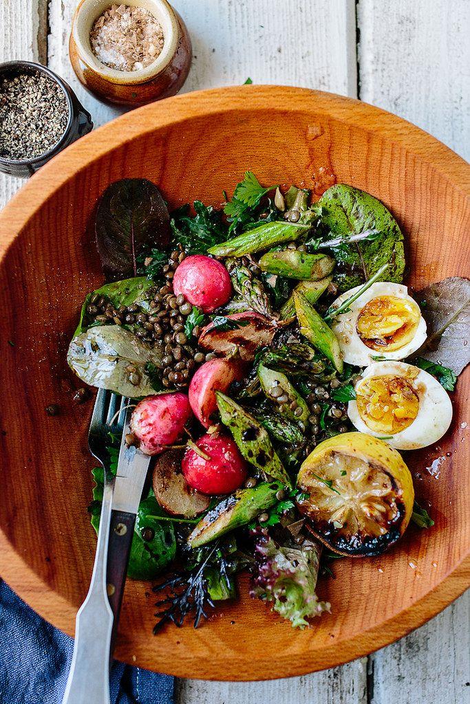 lentil salad with spring greens, asparagus and a soft egg