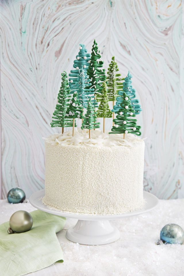 Pine tree cake. Trees made with green candy melts and skewers. Country Living Magazine.