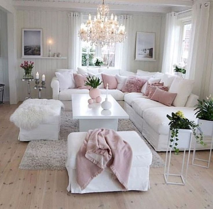 60 Elegant White Living Room Decor Ideas And Remodel Decor Elegant Ideas Living Remo In 2020 White Living Room Decor Pink Living Room Decor Romantic Living Room