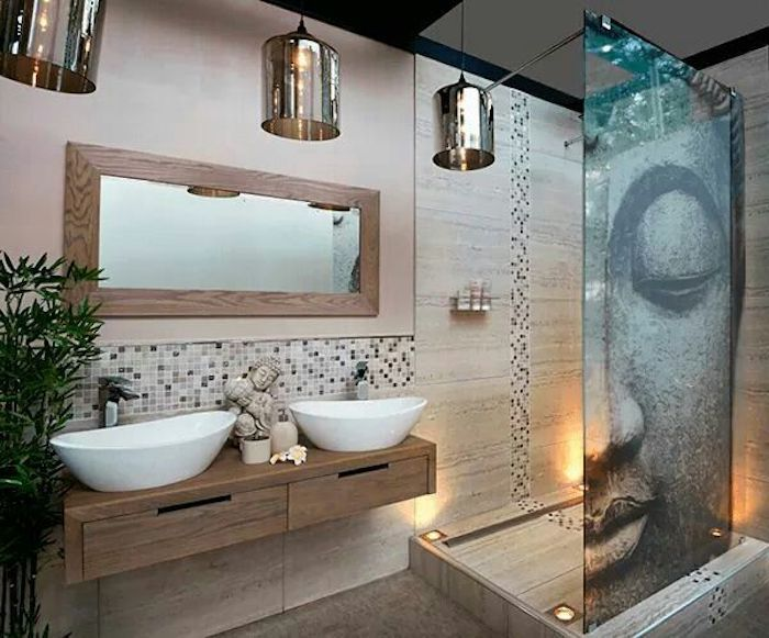 Badezimmer In Helle Farben, Zen, Buddha, Duschkabinne, Pflanze