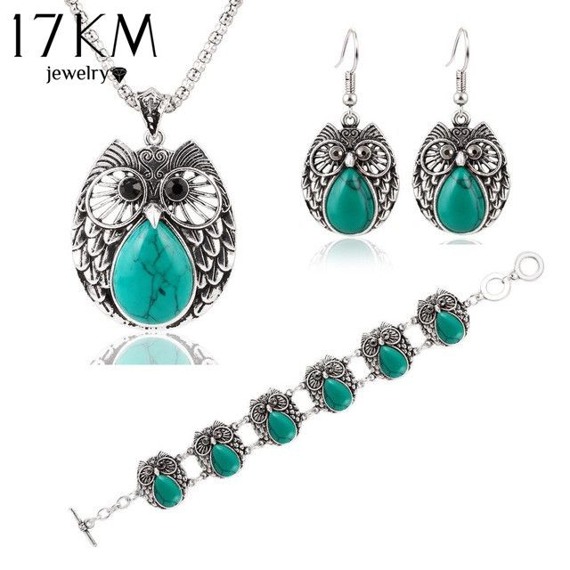 Price $7.80 Like and Share if you want this  17KM Summer Style Jewelry Sets Vintage Green & Red Stone Pendant Necklace Owl Drop Earrings Charm Bracelet  For women     Tag a friend who would love this!       Buy one here---> https://www.fashiondare.com/17km-summer-style-jewelry-sets-vintage-green-red-stone-pendant-necklace-owl-drop-earrings-charm-bracelet-for-women/