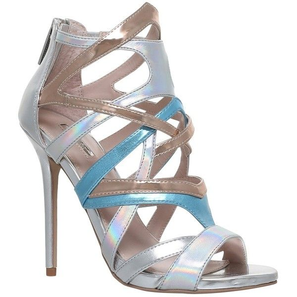 Carvela Gum Occasion Stiletto Heeled Sandals, Silver (£140) ❤ liked on Polyvore featuring shoes, sandals, cage sandals, stiletto sandals, strap sandals, flat strap sandals and silver flat shoes