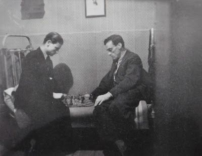 Andrei Tarkovsky playing chess with his father - the poet Arseny Tarkovsky (1947)