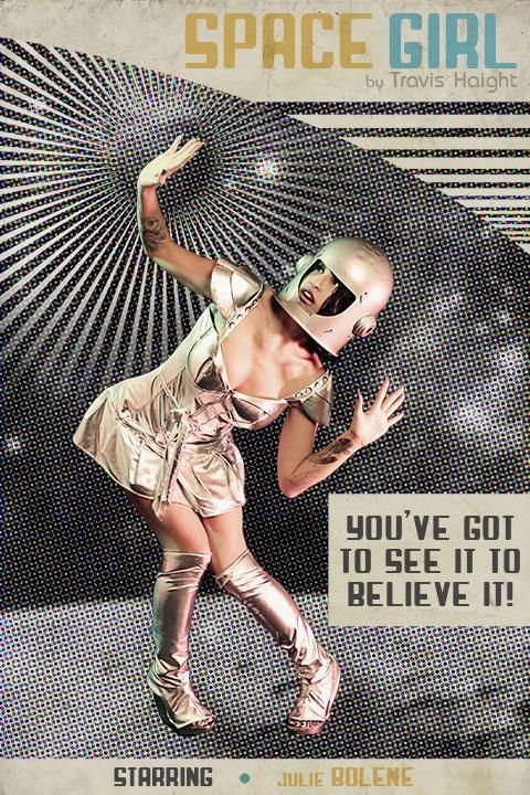 space girl, retro future, sci-fi, silver clothing