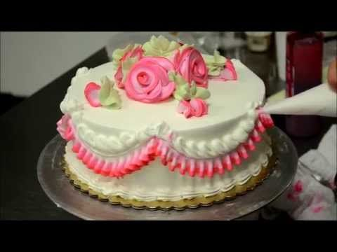 Basic Rose Swirl Cake With Whipped cream frosting Tutorial video - YouTube
