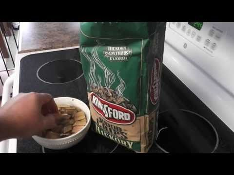 Kingsford Hickory Chips Preparation Tutorial Video.  This is how I prepare my Kingsford hickory chips for smoking.  I soak the hickory chips for a half hour and then I dump them into the Kingsford wood chip smoking box.  I then place that in in the bottom of my Brinkmann electric smoker directly on top of the lava rocks and heating element.  Please share this video.  Cheers!