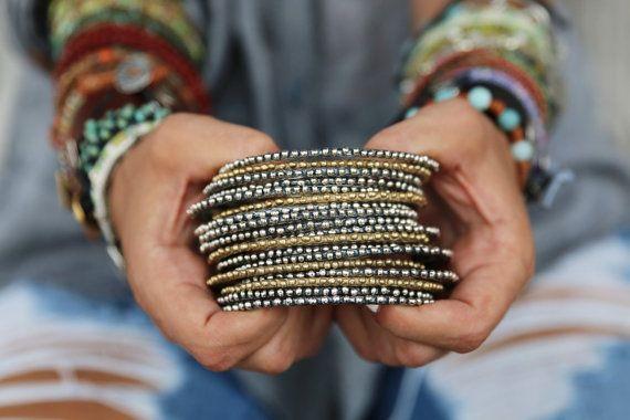 Boho sieraden, Boho armbanden, Boheemse sieraden, een Boheemse armband, stapelen Boho armbanden instellen een Boho Sterling zilveren Stacker armband