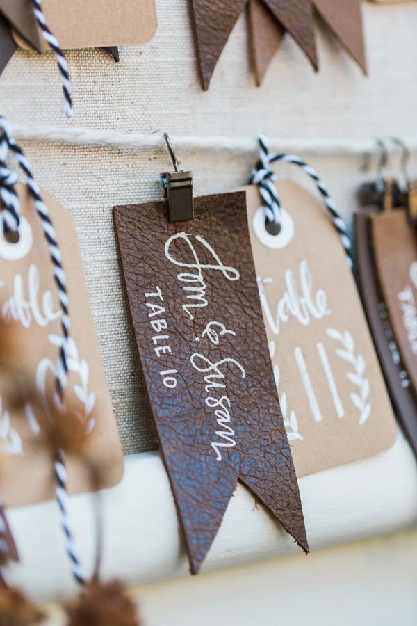 leather escort tags - photo by Jessica Cooper Photography http://ruffledblog.com/eclectic-appleford-estate-wedding-inspiration