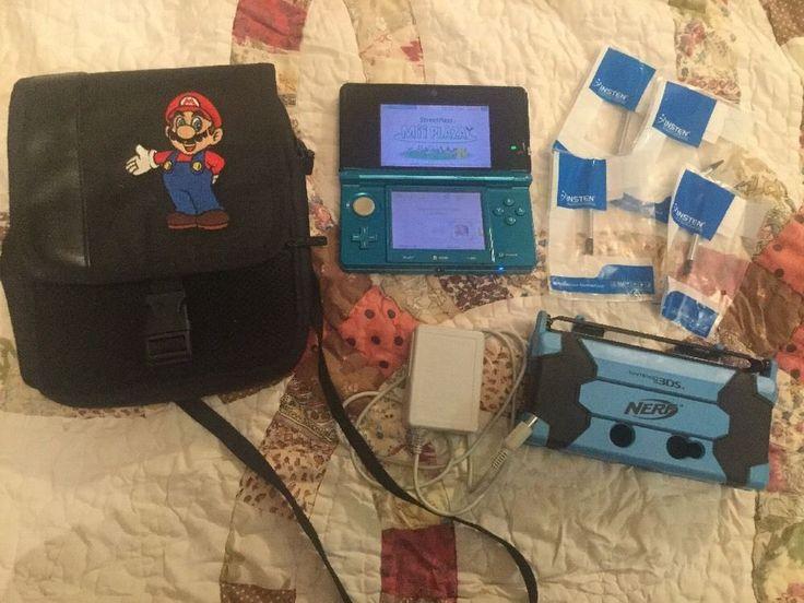 Nintendo 3DS Bundle System Charger Bag Nerf Case Stylus Works Turquoise Aqua #Nintendo