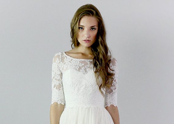Hey, I found this really awesome Etsy listing at https://www.etsy.com/listing/175046772/heloise-lace-wedding-top-separate