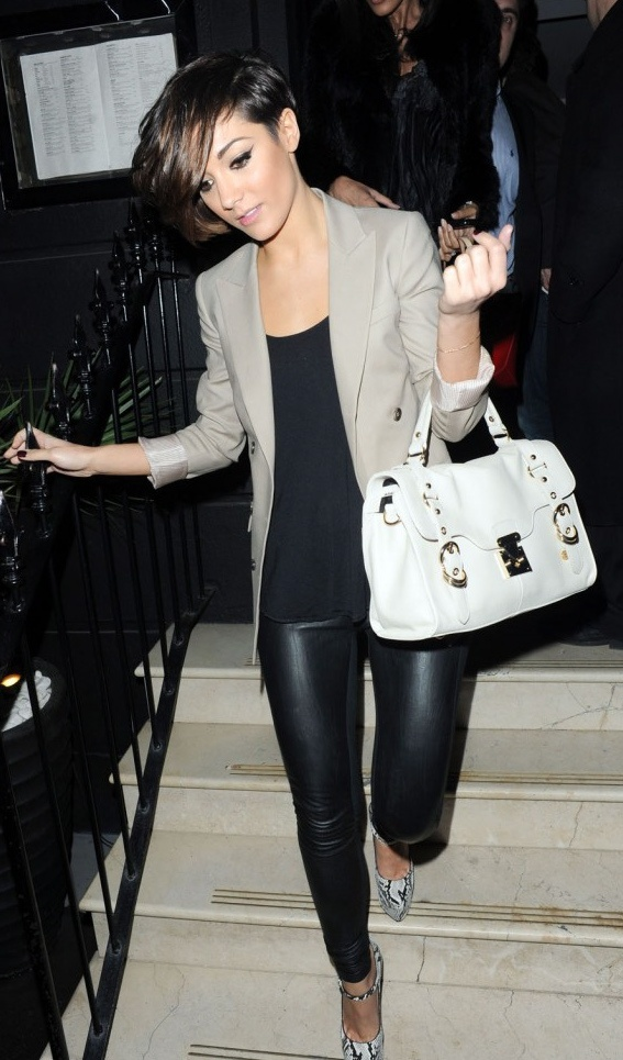 blazer and leather tights look...hot!