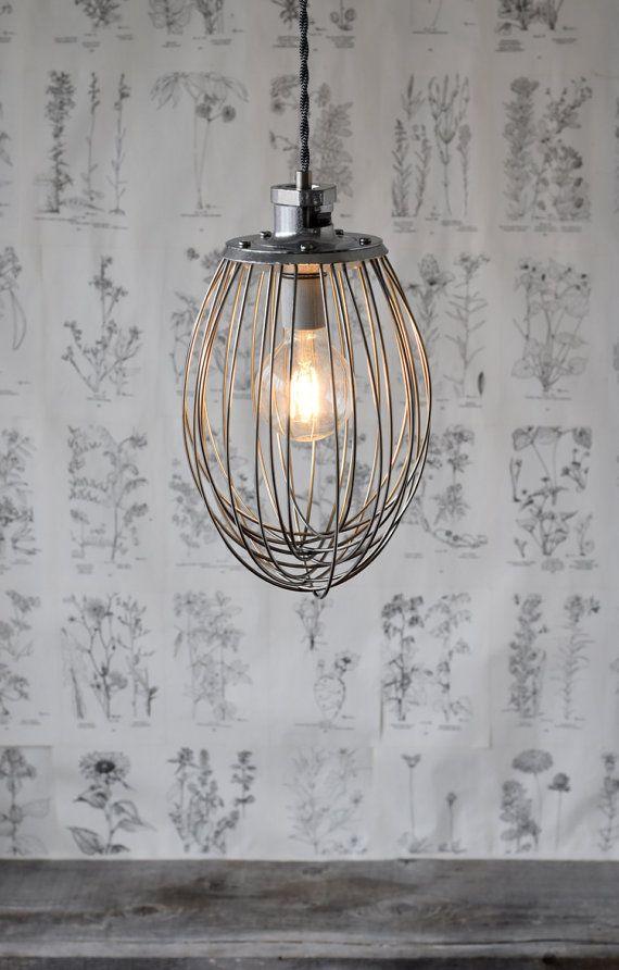 Industrial Whisk Pendant Light Handmade Modern by RevisionsDesign