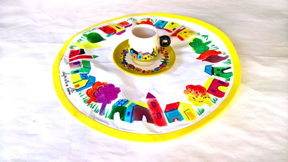 Naif cup ceramic with place mat italian cup cloth by InSetArte