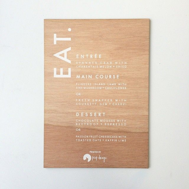 """""""Did this amazing menu for the @thestyleco for their workshop over the last weekend! So happy with the outcome! Everyone loves white ink on wood!  #wood #screenprint #whiteink #wedding #menu #invites #howtostyleco"""""""
