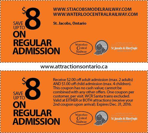 St. Jacobs & Aberfoyle Model Railway - 2015 Summer Coupon